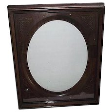 Victorian Solid Walnut Picture Frame with Gilded Incised Decorated Oval Insert Opening 14 1/2 by 11 1/2 inches Circa 1890 !!!
