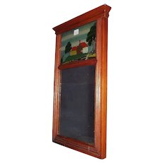 Original Sheraton Mirror with a Cracked Reverse Painted Top Glass. Ca.1870.