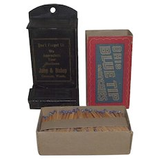 "Advertiser ""Jump &  Bishop"" Wall Match Safe and  Full Box of ""Ohio Blue Tip"" Matches !  Ca. 1915."
