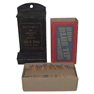 "Advertiser ""Jump & Bishop"" Wall Match Safe & Full Box of ""Ohio Blue Tip"" Matches !  Ca. 1915."
