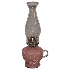 "Rare ""Cased Clear Glass over Pink Glass"" Finger Lamp with Flowers & Grass Pattern !!! Ca. 1900."
