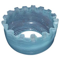 Opalescent Blue with White Spiral Twist Glass Shade Ca. 1890 !!! Base fitter is 5 inches.