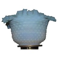 Satin Frosted Hobnail Blue fading to White Shade with Roller Coaster Top Ruffles !!! Ca. 1890 with 4 inch Flange Lip Fitter.