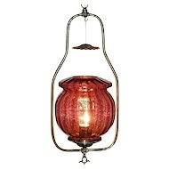 Electrified Gas Hall Light with Cranberry Muffin Shade, Circa 1890 !!!