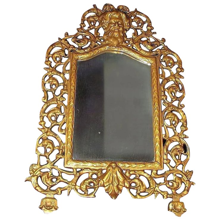 Gold Painted Cast Iron Mirror Frame With Arch Top Wall Ca 1900