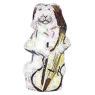 "Rare Ceramic Bisque ""Dog Playing Instrument"" missing internal Whistle Ball or Reed. Ca. 1900."