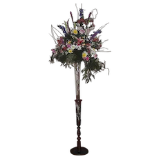 """Giant Signed """"THOMAS WEBB"""" Blown Glass Trumpet Vase in a Peace Lily Form, with an American Black Walnut Floor Stand !!!  Ca. 1895."""