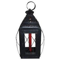 """Awesome """"New England Type"""" Large Hand Candle Lantern; with 4-Sided Wire Guard and 4-Sided Glass ! Ca. 1825"""