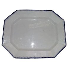 "Large ""Blue Feathered Edge"" Platter with Embossed Grass Blades on a 16 1/2 by 13 Inch Serving Platter !"