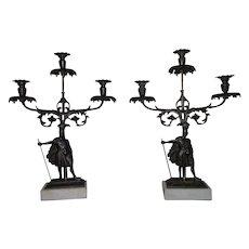 Rare Pair of Civil War Period Triple Girandole Candle Holders !!! Circa 1845.