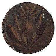 """Rare """"Pineapple & Leaves"""" Butter Print or Stamp ! Circa 1800's."""