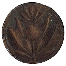 """Rare """"Pineapple & Palm Leaves"""" Butter Print or Stamp ! Circa 1800's."""