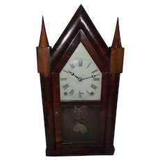 """Rare Lyre Harp Brass Frame """"Terry & Andrews"""" 8 Day Steeple Clock with original lower Glass Tablet Ca. 1842 to 1850 !!!"""
