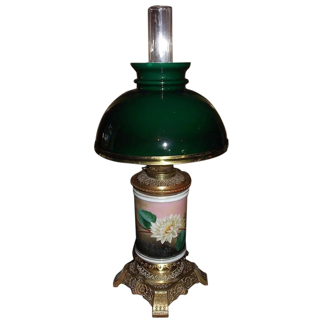 """Outdoor Gas Lamp Repair Near Me: Rare """"Water Lily"""" Vase Oil Lamp With Cased Green Glass"""