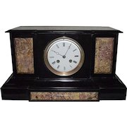 "French ""Japy Freres"" marked Black Stone & Brown Marble Mantle Clock with 8 Day Movement Circa 1880's !!!"