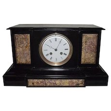"""French """"Japy Freres"""" marked Black Stone & Brown Marble Mantle Clock with 8 Day Movement Circa 1880's !!!"""