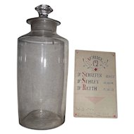 "Large Blown Glass Apothecary Jar Circa 1860's with Doctor's ""Last Call Service Q Paper"" document insert Dated 1905"" !!!"