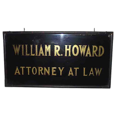 "Gold Leaf & Reverse Painted Glass Trade Sign ""William R. Howard * Attorney At Law"" in Original Antique Copper Frame Circa 1900 !!!"