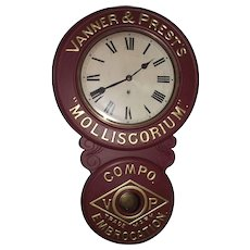 "Original  Metal Front ""Vanner &  Prest's * Molliscorium * Compo Embrocation Trade Mark"" Advertising Clock with Restored Paint, circa 1905 to 1910 !!!"
