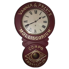 "Original  ""Vanner &  Prest's * Molliscorium * Compo Embrocation Trade Mark"" Advertising Clock with Restored Paint, circa 1905 to 1910 !!!"
