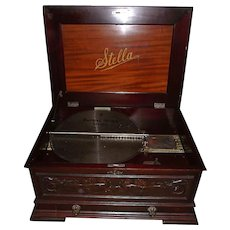 Large Stella 17 inch Music Disc Player with Carved Mahogany Front & Pull Out Disc Drawer !!!
