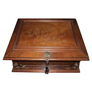 "Symphonion #25 Music Disc Player with ""Birds in Tree Branches Inlaid Walnut Top & 40 Musical Disc included !!!"