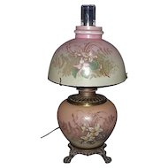 Small GWTW Electrified Lamp & Matching Shade with 3 Way Rotary Switch !!! Lamp Circa 1910.