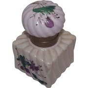 Ladies Artist Hand Painted China inkwell with Matching Lid !
