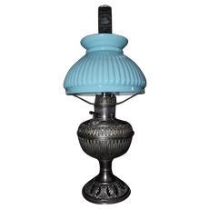 "Miniature marked ""The B & H"" Nickel Plated Metal Table Lamp with Fabulous Cased Blue over White Melon Shade !!! Circa 1905."