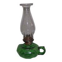 Green 12 Panel Finger Oil Lamp !!! Circa 1900.