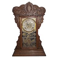 """Ansonia """"Capitol #44"""" Model Steam Pressed Oak Shelf Clock with  8 Day Time, Strike & Alarm and Decorative Peacock Glass Door !!!"""