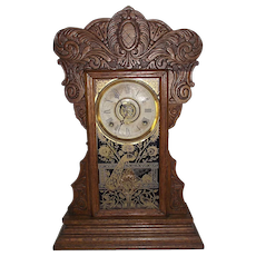 "Ansonia ""Capitol #44"" Model Steam Pressed Oak Shelf Clock with  8 Day Time, Strike & Alarm and Decorative Peacock Glass Door !!!"