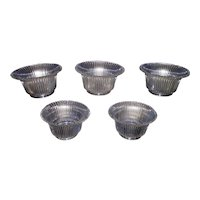 Set of 5 Matching 4 inch Shades with Glimmering Silver Reflective Ribs Pattern Circa 1910 !!!