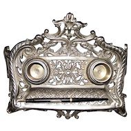 Nickel Plated Desk Ink Stand Circa 1900 !!!