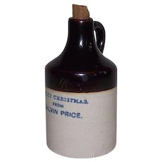 "Rare Miniature 3 & 3/8 inch Whiskey Jug marked with Nice Cobalt Blue Lettering ""Merry Christmas from Calvin Price"" !!!"