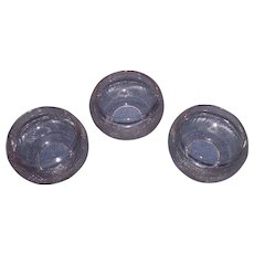 Three Sun Purple Blown Molded  4 inch Chandelier Shades with Faux Cut Band Glass Pattern Circa 1880 !!!