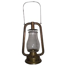 """Rare Early """"Brass U.S. Tubular"""" Dietz Model Lantern Complete with marked Globe Circa 1880 to 1887  !!!"""