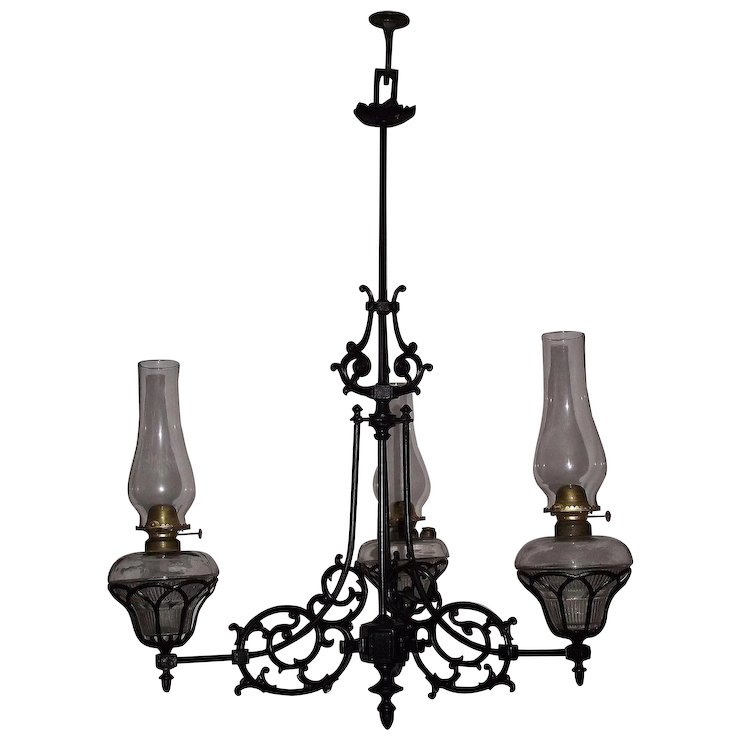 Three arm cast iron chandelier model 108 still in oil circa 1868 to three arm cast iron chandelier model 108 still in oil circa 1868 to 1884 aloadofball Choice Image