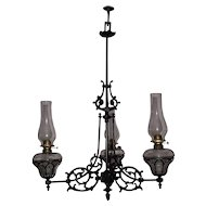 Three Arm Cast Iron Chandelier Model #108 still in Oil Circa 1868 to 1884 !!!