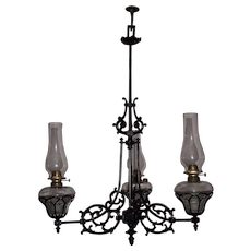 Three Arm Cast Iron Chandelier Model #108 still in Oil Circa 1868 to 1884 !!!