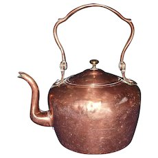 Dovetailed Transitional Copper Teapot Circa 1865 !!!