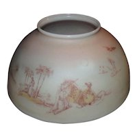 """Antique """"Camel Desert Scene"""" 14 inch Blown Glass Library Lamp Shade with Original Factory Decorations with Pastel Pink to White Background Shading !!! Circa 1890."""