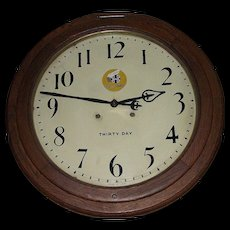 """""""Santa Fe Super Chief"""" painted Dial on a """"Arcade"""" Model 30 Day Movement Gallery Clock with 18 inch Dial and 24 inch Solid Oak Case !!! Circa 1916."""