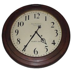 "Large ""Ball Watch Co. 30 Day Gallery Clock"" with 18 inch Dial and 24 inch Solid Oak Case !!! Circa 1905 to 1920."