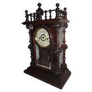 """Rare """"Gerster V.P."""" Ornate Model Rosewood Shelf Clock made by the Welsh Clock Co. Circa 1875 !!!"""