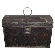 "Toleware Stencil Decorated Ladies ""Sewing or Trinket Box""  Circa 1870 !!!"