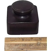 """Deluxe Double Screw Caps on """"Traveler's Ink Well"""" made of India Rubber Circa 1920 Germany in Very Fine condition with No Chips, Cracks, or Fractures !!!"""