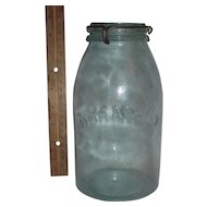 "Half Gallon ""Cohansey"" Fruit Jar complete with ""Patented July 16, 1872 * January 18,1876"" Glass Lid !"
