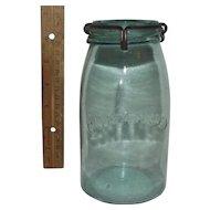 "Quart Size Fruit Jar  marked ""Cohansey Glass Manuf. Co. Philada Pa. *Patented January 18,1876 * Pat. July 16, 1872"""