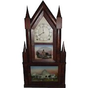 """""""Double Decker Steeple Clock"""" made by """"Terry & Andrews"""" with Original Reverse Painted Glass Tablets Circa 1835 !!!"""
